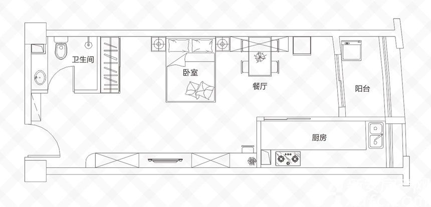 庐江中心城E户型-59.82㎡1室1厅59.82平米