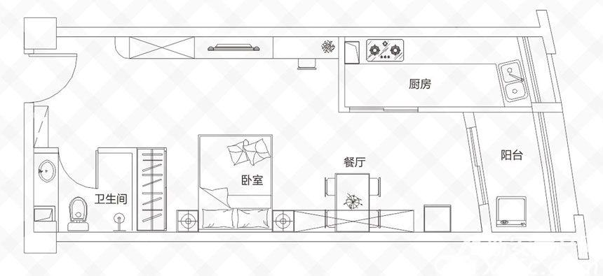 庐江中心城D户型-57.19㎡1室1厅57.19平米