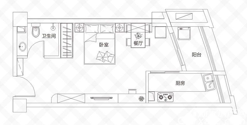 庐江中心城C户型-50.48户型1室1厅50.48平米