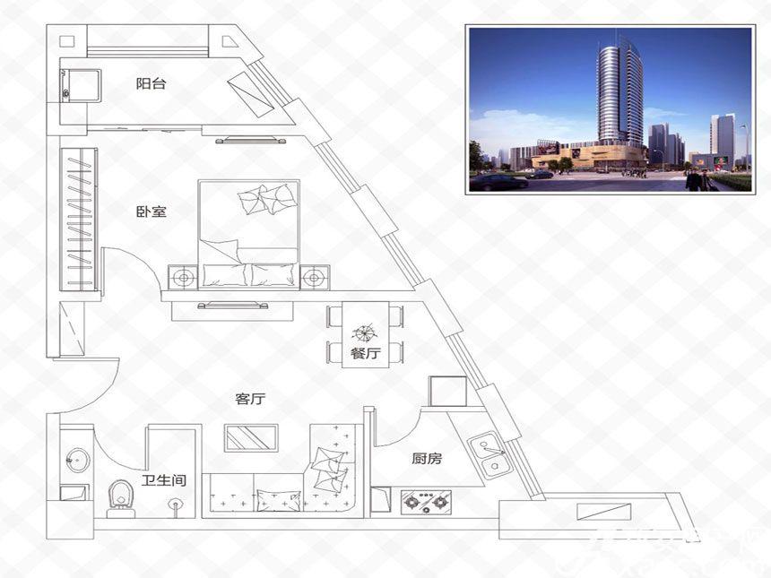 庐江中心城B户型-59.56㎡1室2厅59.56平米