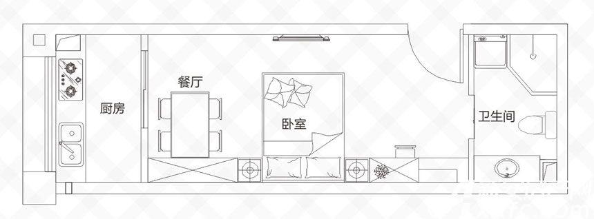庐江中心城A户型-35.5㎡1室1厅35.5平米