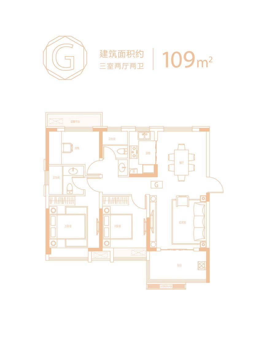 信达庐阳府G户型3室2厅109平米
