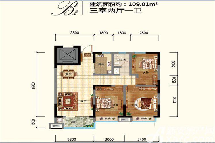 鼎鑫幸福城B23室2厅109平米