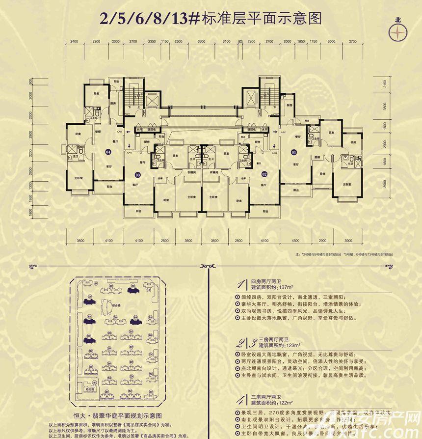 恒大翡翠华庭13#01户型4室2厅137平米
