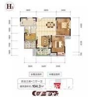 金銮御林河畔H23室2厅104.3㎡