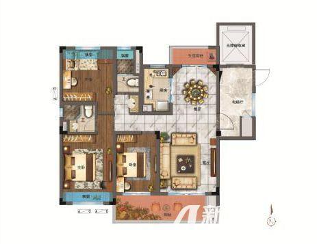 碧桂园翡翠湾YJ118A3室2厅120平米