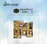 粤泰公园天鹅湾C2户型3室2厅88㎡