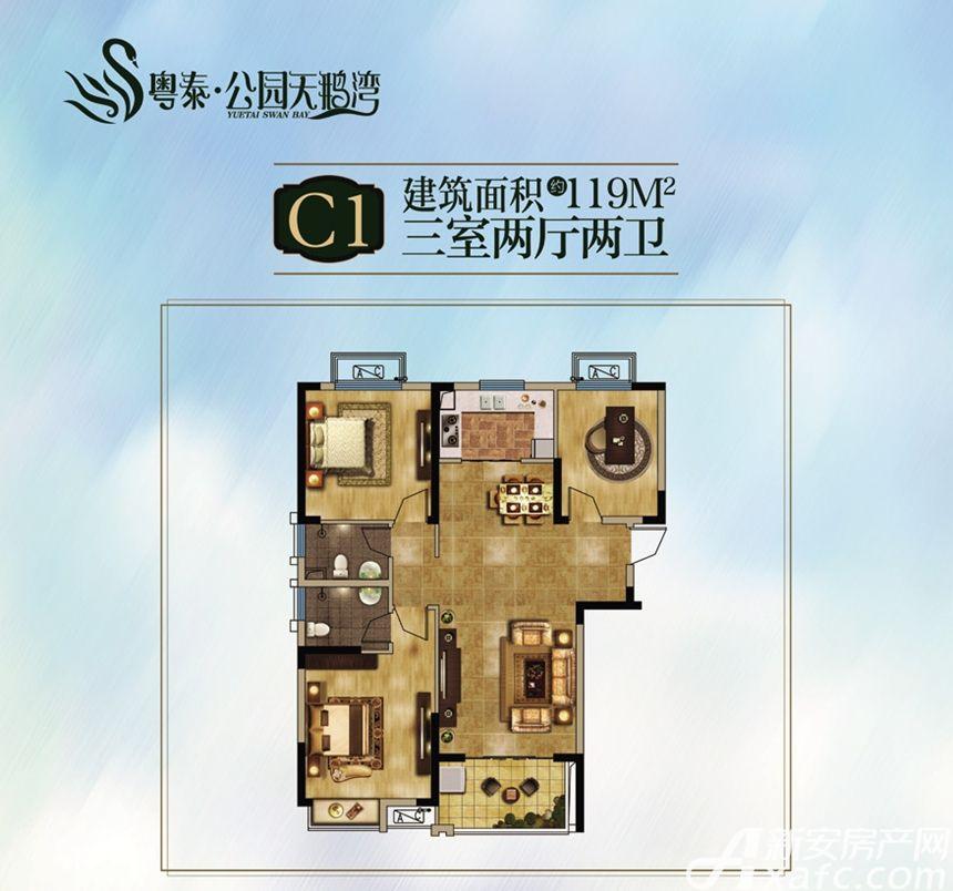 粤泰天鹅湾C1户型3室2厅119平米