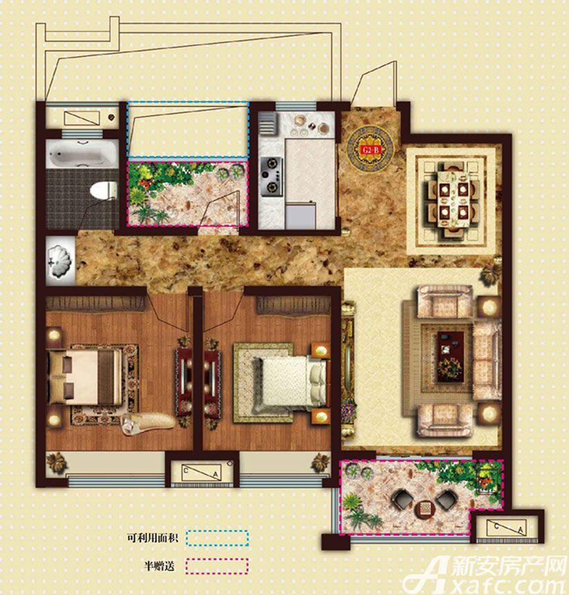 文一名门首府2+1室88㎡户型3室2厅88平米