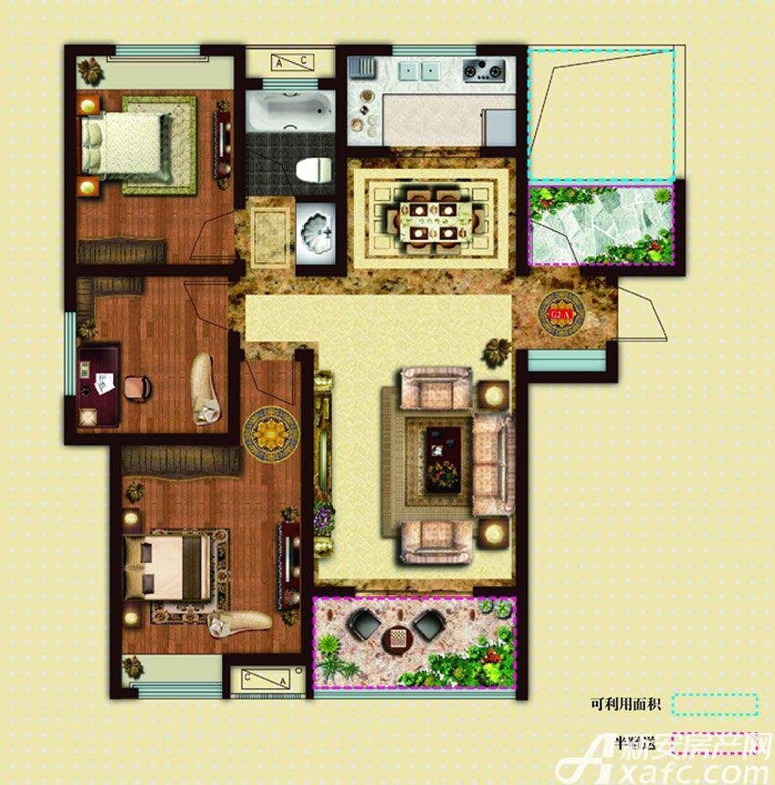 文一名门首府3+1室105㎡户型4室2厅105平米