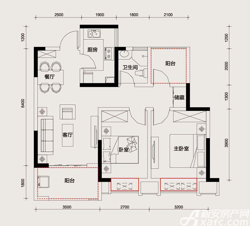 长虹世纪荣廷B户型2室2厅82平米