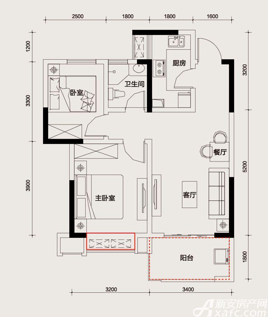 长虹世纪荣廷A户型2室2厅71平米
