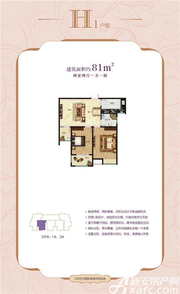 大唐凤凰城H1户型2室2厅81平米