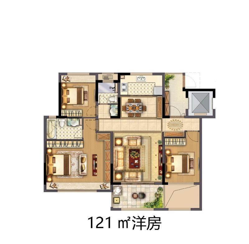 中南·熙悦洋房3室2厅121平米