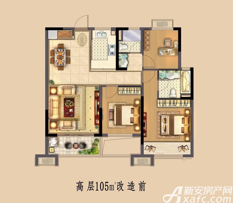 中南·熙悦高层3室2厅105平米