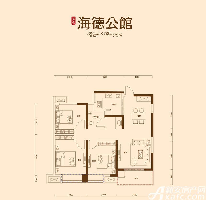 高速·海德公馆D2户型3室2厅95.47平米