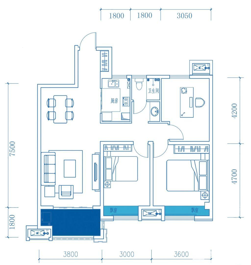 名邦鲲鹏湖A户型3室2厅108平米
