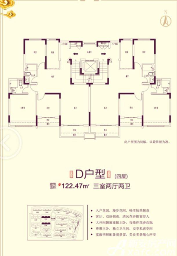 恒大滨江左岸10# 13# D户型3室2厅122.47平米