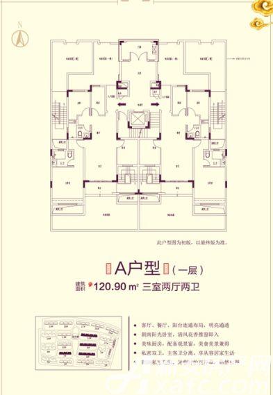 恒大滨江左岸7# 6# 9# 12# A户型3室2厅120.9平米
