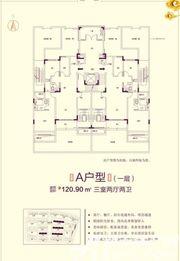 恒大滨江左岸7# 6# 9# 12# A户型3室2厅120.9㎡