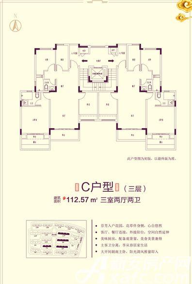 恒大滨江左岸7# 6# 9# 12# C户型3室2厅112.57平米