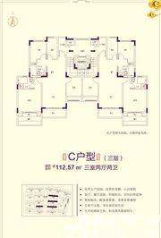 恒大滨江左岸7# 6# 9# 12# C户型3室2厅112.57㎡