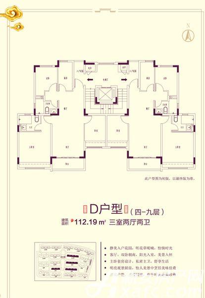 恒大滨江左岸7# 6# 9# 12# D户型3室2厅112.19平米
