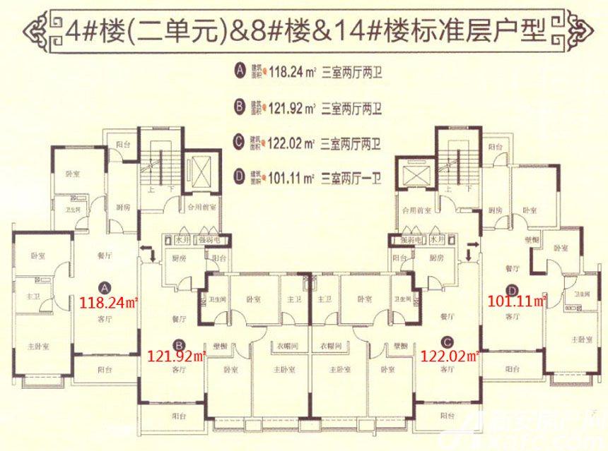 恒大滨江左岸4#8#14#户型3室2厅120平米
