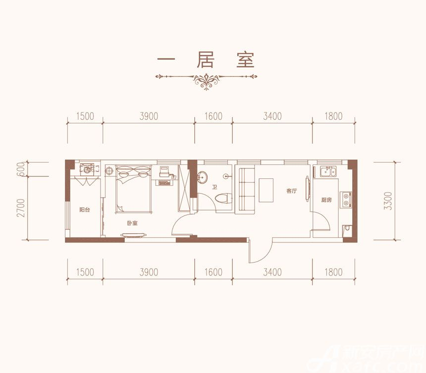 星海城G1户型1室1厅57.93平米