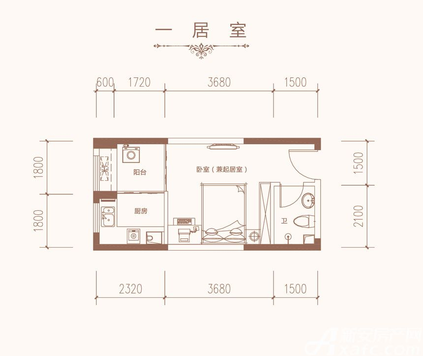 星海城G3户型1室1厅38.18平米