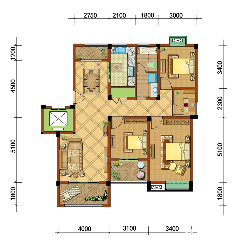 通和·凤凰城F13室2厅122.43平米