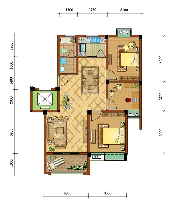 通和·凤凰城F23室2厅96.25平米