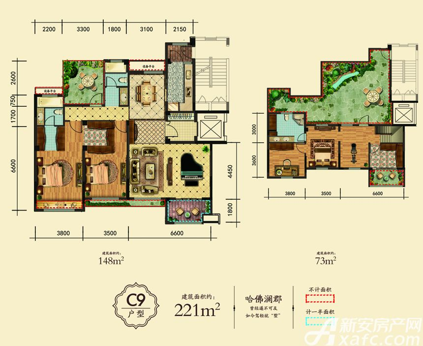 万成·哈佛玫瑰园玫瑰园洋房C9户型5室3厅221平米
