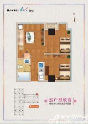 绿地微公馆25号户型1室1厅63.62㎡