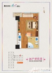 绿地微公馆26号户型1室1厅46.77㎡