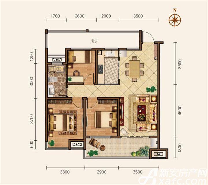 滨江壹号院A户型3室2厅98平米