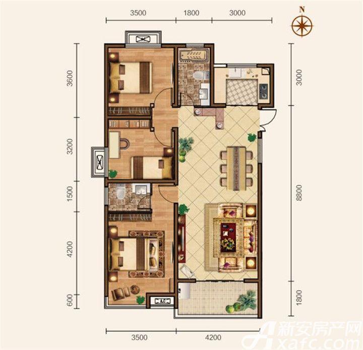 滨江壹号院B户型3室2厅118平米