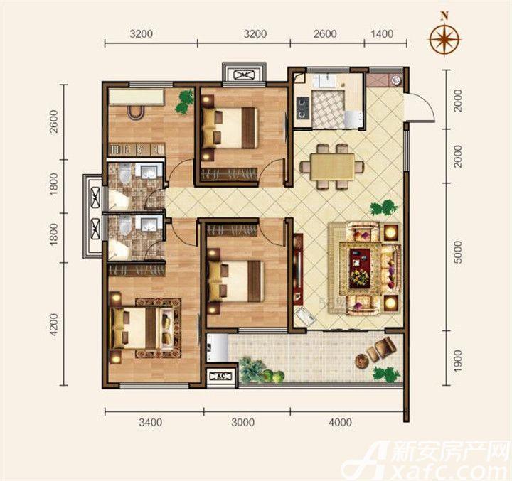 滨江壹号院D户型4室2厅128平米