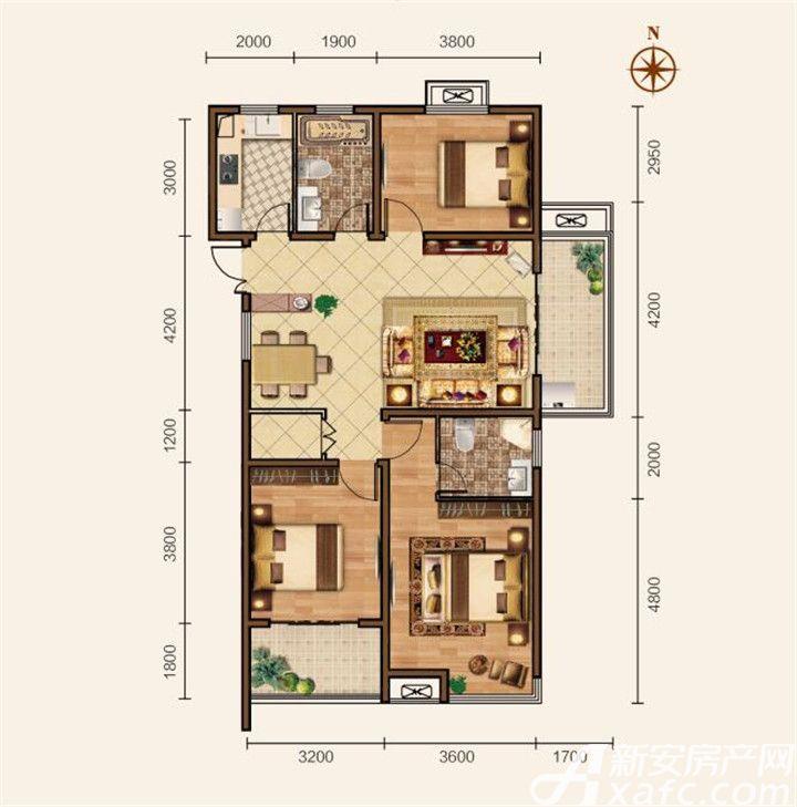 滨江壹号院E户型3室2厅118平米
