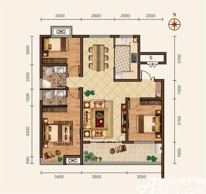 滨江壹号院F户型3室2厅118平米