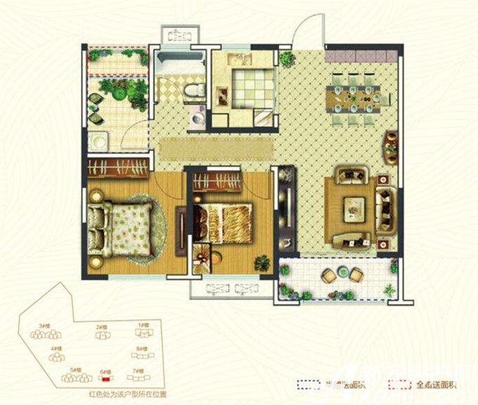银湖福安家园E22室2厅88.52平米
