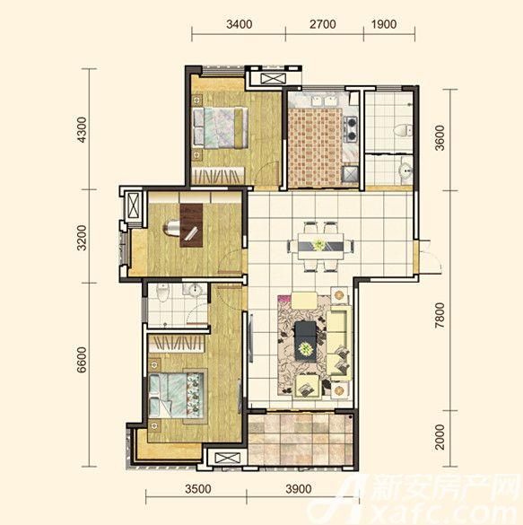 地矿龙山湖苑G-D33室2厅126平米