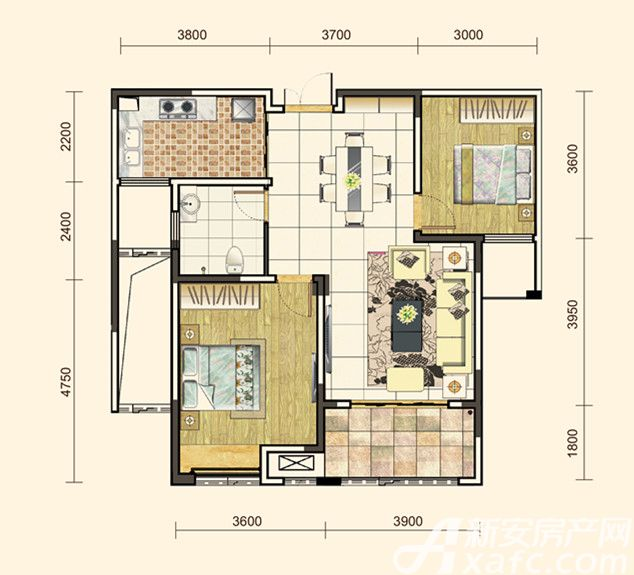 地矿龙山湖苑G-A12室2厅93平米