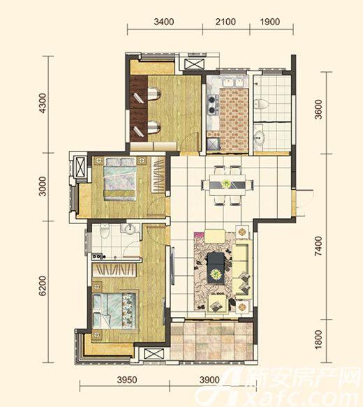 地矿龙山湖苑G-C13室2厅115平米
