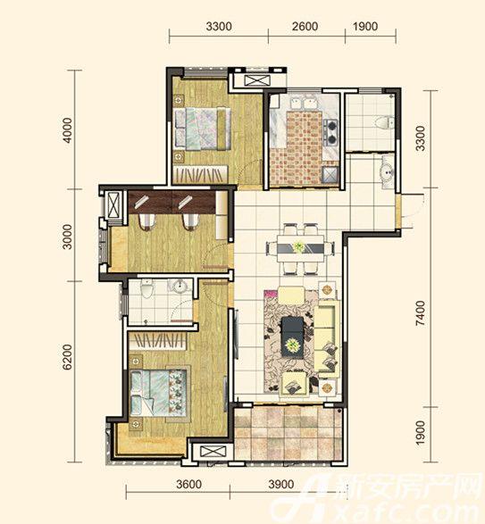 地矿龙山湖苑G-C33室2厅116平米