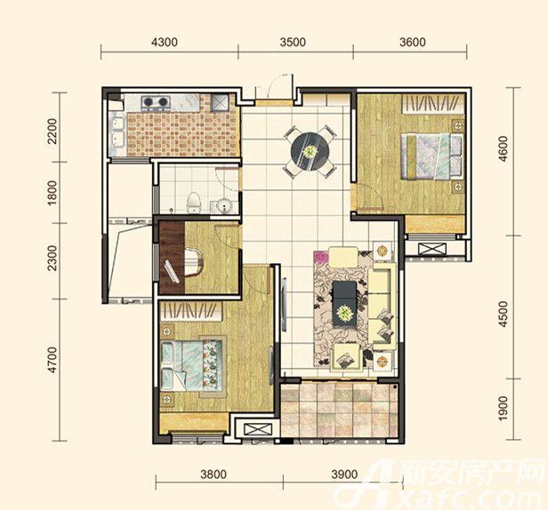 地矿龙山湖苑G-C43室2厅111平米