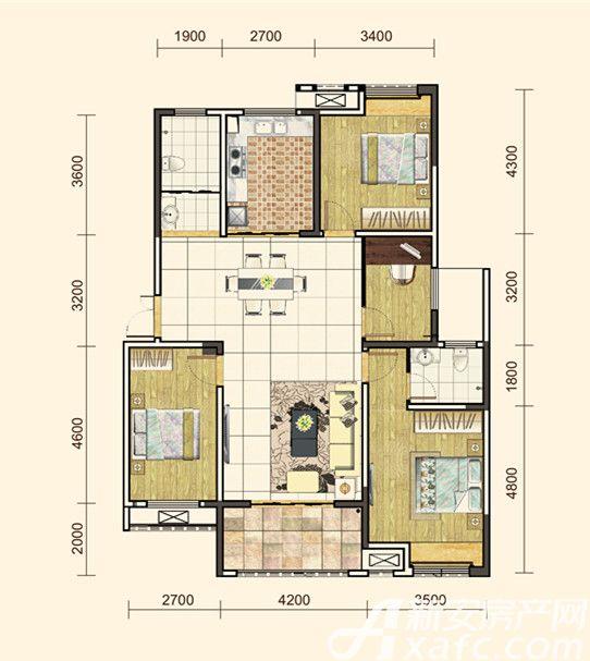 地矿龙山湖苑G-D14室2厅134平米