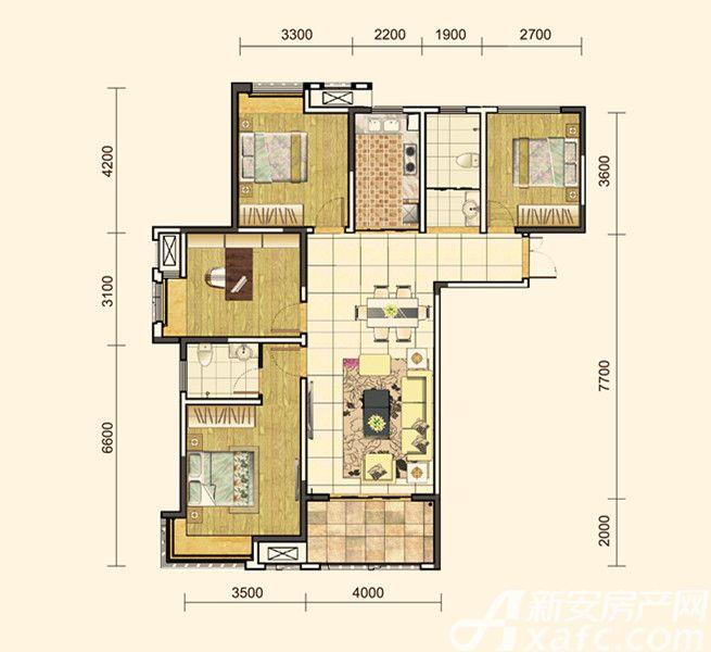 地矿龙山湖苑G-D24室2厅131平米