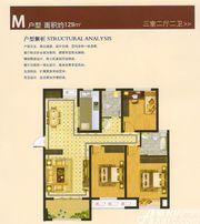 港利上城国际M户型3室2厅129㎡