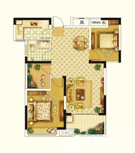 圣联锦城D户型89㎡2室2厅89平米